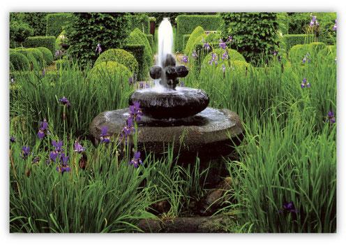 Brunnengarten mit Iris und Buchen-Stelen