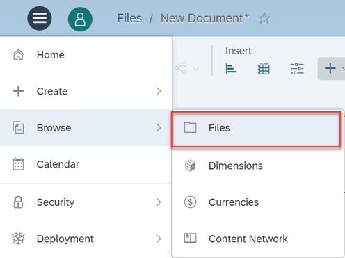 SAP Analytics Cloud Browse Files