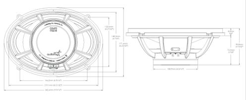 Skizze und Maße GS693 Audiofrog Lautsprecher