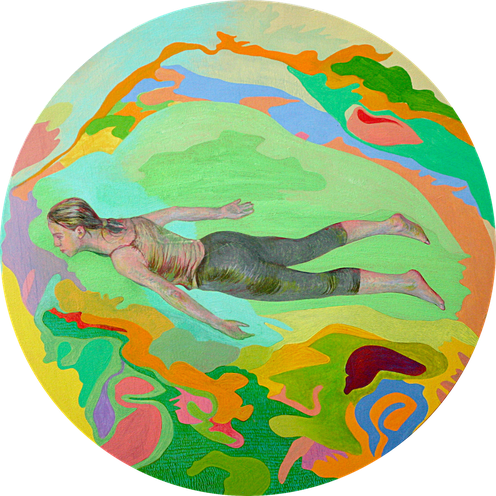 Freischwimmer, 2007. (Tempera / Öl / Holz, Durchmesser 30 cm, drehbar)
