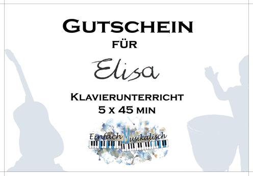 Geschenkgutschein Klavierunterricht Erfurt