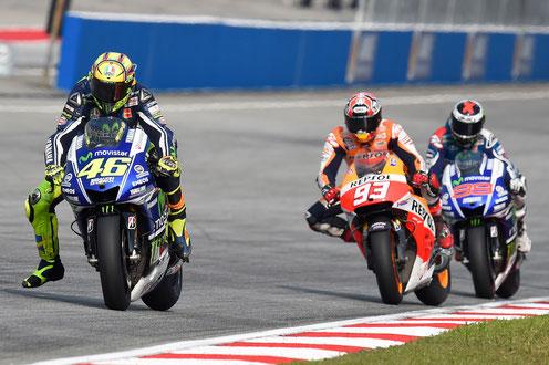 MotoGP 2014 in Sepang - Gerangel um die Plätze zwischen Valentino Rossi, Marc Marquez und Jorge Lorenzo.