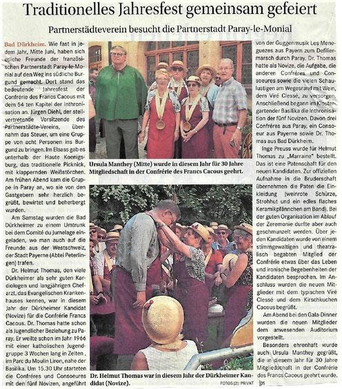 Artikel im Stadtanzeiger Bad Dürkheim am 12.07.2018