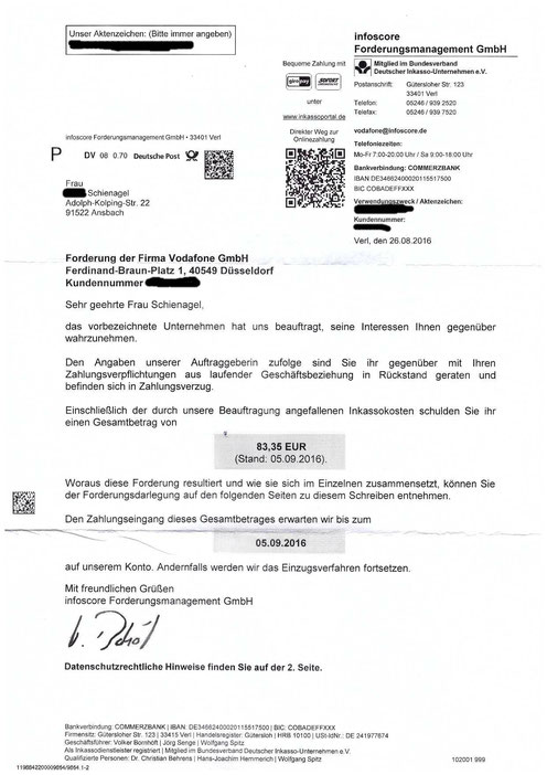 Vodafone kommt nun mit Inkassobüro