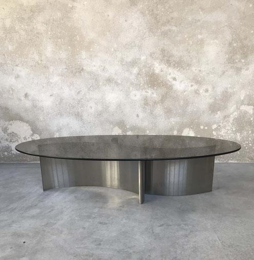 table basse 70, Table inox et verre, table acier brossé, François Monnet, Patrice Maffei, Kappa