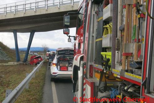 Feuerwehr; Blaulicht; Stadtfeuerwehr Oberwart; Unfall; PKW; Brückenpfeiler;