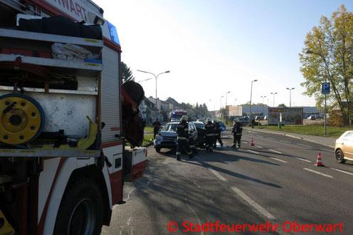 Feuerwehr; Blaulicht; Stadtfeuerwehr Oberwart; Unfall; PKW; Wienerstraße;