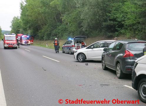 Feuerwehr, Blaulicht, Stadtfeuerwehr Oberwart, Unfall, Bergung, PKW, Güterweg