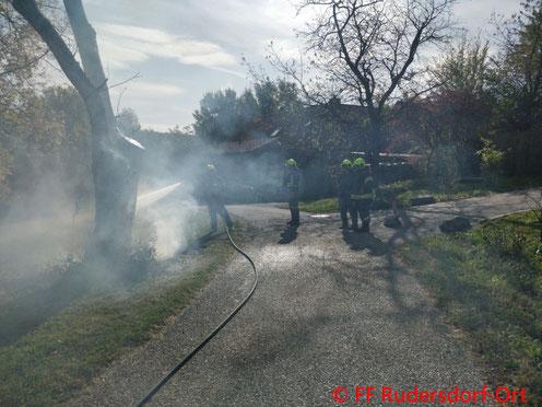 Feuerwehr; Blaulicht; BFKDO Jennersdorf; FF Rudersdorf-Ort; Brand; Baum;