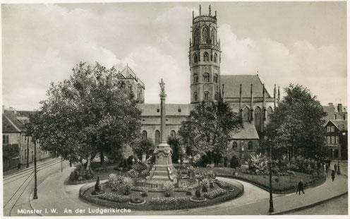 Am linken Bildrand lag die Gaststätte - Sammlung Stoffers (Münsterländische Bank Thie - Stadtarchiv)