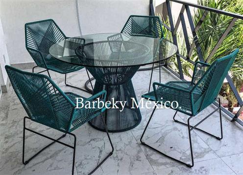 Mesa comedor tejida  para cuatro personas ,vidrio de 9 mm uso interiores y exteriores.