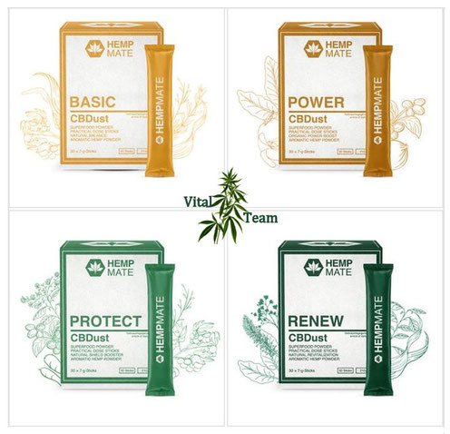 CBD Dust Superfoodpulver von HempMate in drei Sorten - CBDust BASIC, CBDust POWER, CBDust PROTECT und CBDust RENEW
