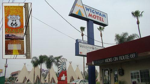 Tag 24: In RIALTO, 77 Meilen vor unserem Endziel entfernt, entdecken wir ein weiteres Wigwam-Motel.