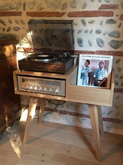 meuble platine vinyles chêne création design rétro vintage disque