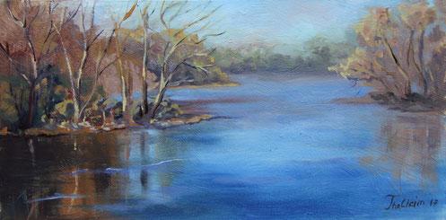 gemaltes Landschaftsbild, Künstlerin Ute Thalheim, mit Ölfarben, ein Bild eines See in Nachmittagsstimmung