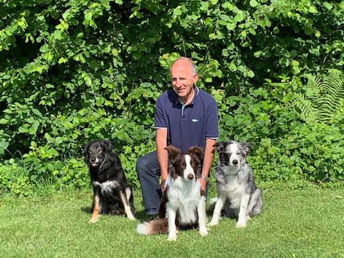 Hanspeter mit Murphy, Palü und Flynn
