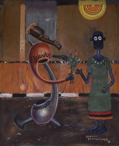 NALA trifft ein wundersames Wesen, Ölfarbe auf Leinwand von Gordon Shamulenge, Lusaka / Zambia