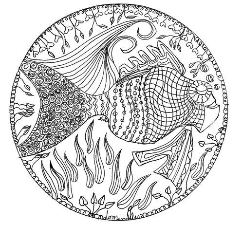 animales de mandalas peces