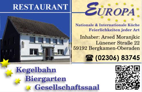 Visitenkarte Restaurant Europa