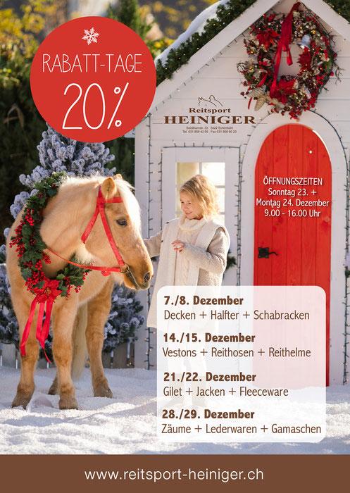 Reitsport Heiniger - Advents-Rabatt-Tage bei uns im Geschäft ab dem 15. Dezember - Jeden Tag 1% mehr Rabatt