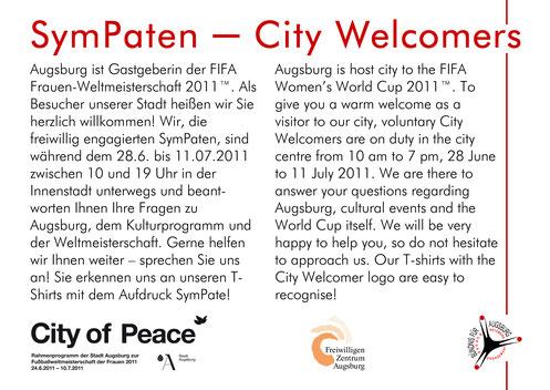 SymPaten - City Welcomers 2011 Postkarte - Freiwilligen-Zentrum Augsburg