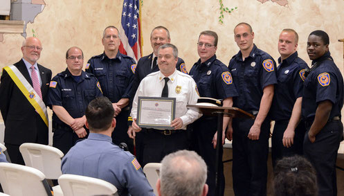 Members of FFD with the K of C Grand Knight at the 2018 annual Knights of Columbus Shield Awards - from  left - Grand Knight McQuillan, FFs Padulsky, Gorman, Asst Chiefs Szanto and Zawodniak, FFs Route, Weisglass, Ridge, Green (photo by Tom Kranz)