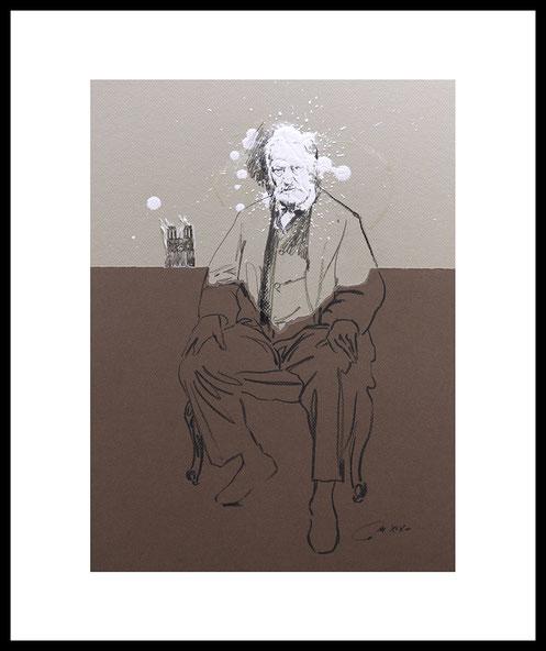 """Conversation avec V.Hugo """"Entre tristesse et colère"""" (d'après Nadar) dessin fusain collages et acrylique"""