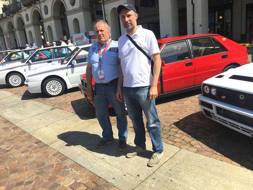 In alto e a destra, Sergio Martinetto e Roberto Mais al raduno Lancia Delta