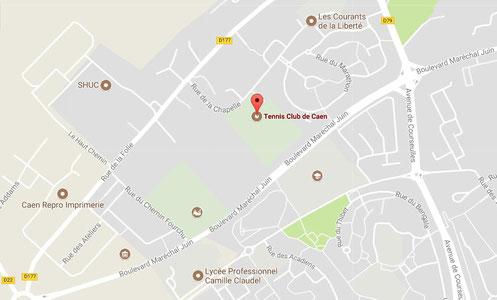 Plan d'accès au tennis club de Caen