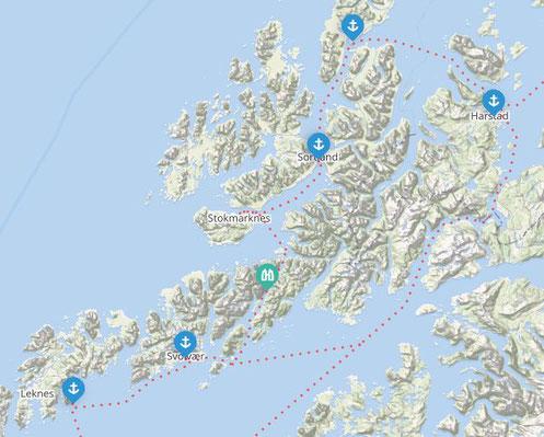 Map of ports from coastal line Hurtigrute on Lofoten and Vesterålen