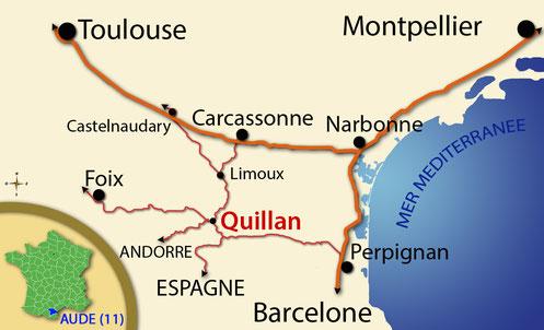 Plan d'accès - Carte situation Quillan