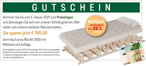 Gutschein RELAX Zirben-Aktionswochen bei Möbel Meßmer. Gültig bis 25. Januar 2021.