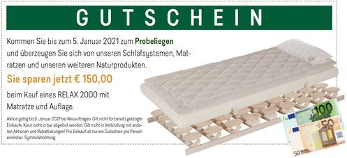 Gutschein RELAX Zirben-Aktionswochen bei Möbel Meßmer. Gültig bis 5. Januar 2021.