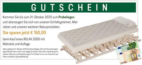 Gutschein RELAX Zirben-Aktionswochen bei Möbel Meßmer