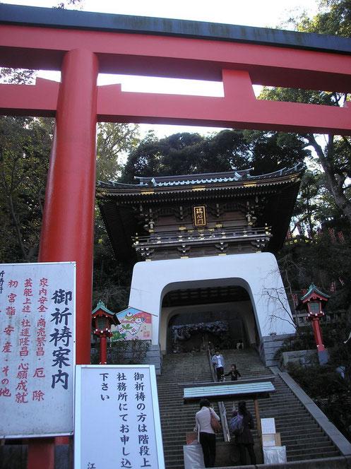 Le torii rouge devant la porte Zuishin-mon