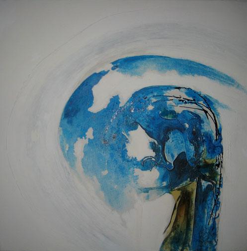 ohne Titel, 70 x 70 cm, Spachtelmasse, Acrylfarbe, Kunstharz