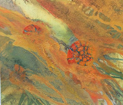 Aus der Reihe: Erd(ge)schichten, 60 x 60 cm, Lack, Acrylfarbe, Urgesteinsmehl