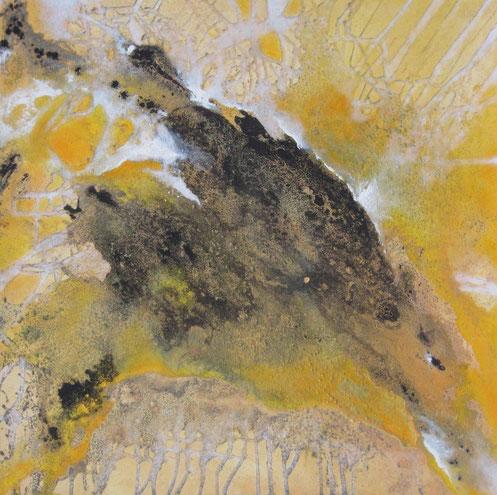 Aus der Reihe: Atelier Erde 100 x 100 cm, Urgesteinsmehl, Acrylfarbe, Lack, Ölfarbe, verkauft