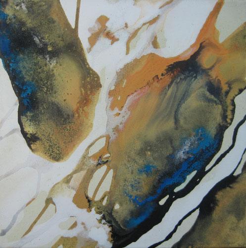 ohne Titel 40 x 40 cm, Urgesteinsmehl, Acrylfarbe, Acryllack, Ölfarbe