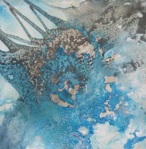 Aus der Reihe: Atelier Erde 50 x 50 cm, Urgesteinsmehl, Acrylfarbe, Pigmente, Lack