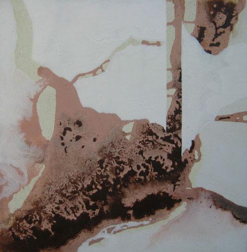 Aus der Reihe: Drunter und Drüber, 40 x 40 cm, Urgesteinsmehl, Acrylfarbe, Acryllack, Ölfarbe