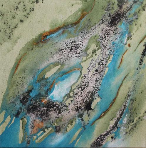 Atelier Erde, 70 x 70 cm, Urgesteinsmehl, Acrylfarbe, Ölfarbe