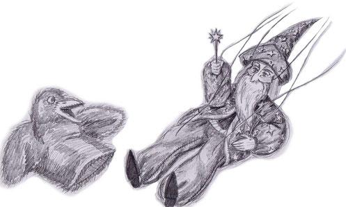 Bleistiftillustration, Magier und Rabe