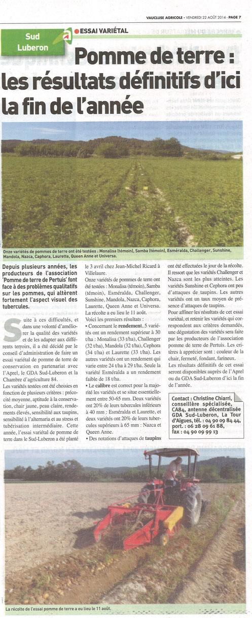 Vaucluse Agricole 22 août 2014