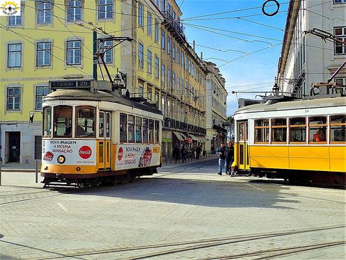 Die kleinen Trams in der Stadt.