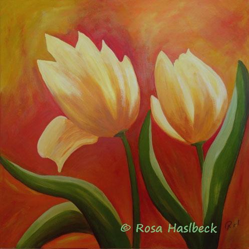 acrylbild, tulpenbild, tulpen, blumen, frühling, kunst, malen, bild