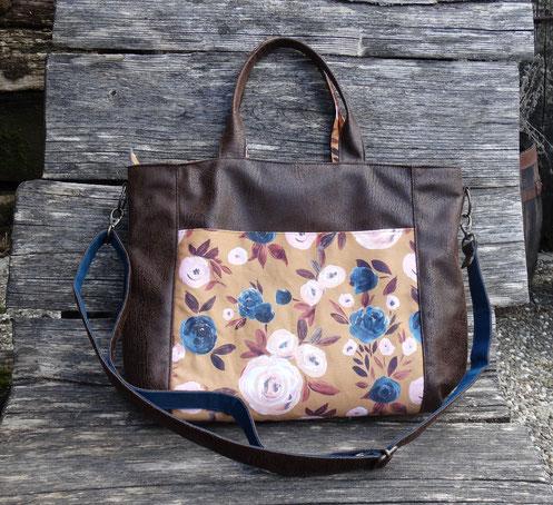 sac à main cabas femme faux cuir marron tisxsu jaune ocre moutarde fleurs bleu pétrole fabrication artisanale fait-main France pièce unique