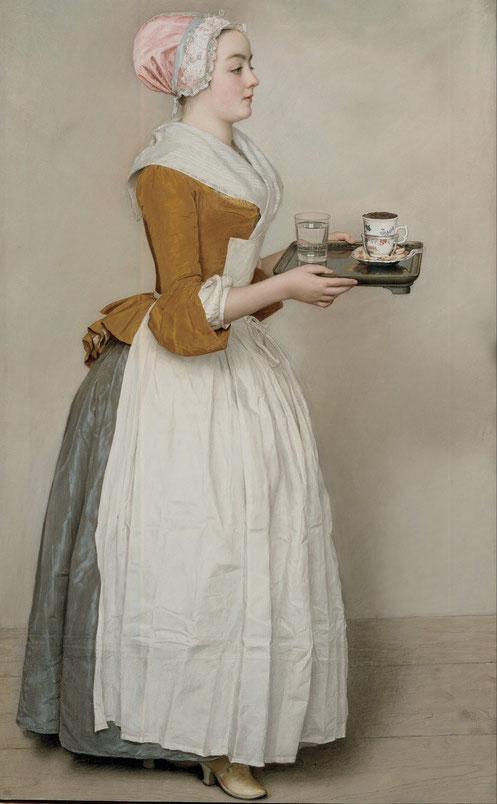 Das Schokoladenmädchen von Jean-Etienne Liotard. Bedienstete trägt ein Tablett mit einer Tasse Schokolade