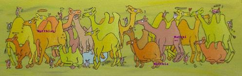 """Karawane in gelb"",  Acryl auf Leinwand  100/30 cm  Dezember 2007"
