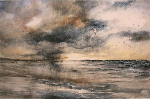"""2017 """"Laguna"""" acquerello su carta cm 38 x 56"""